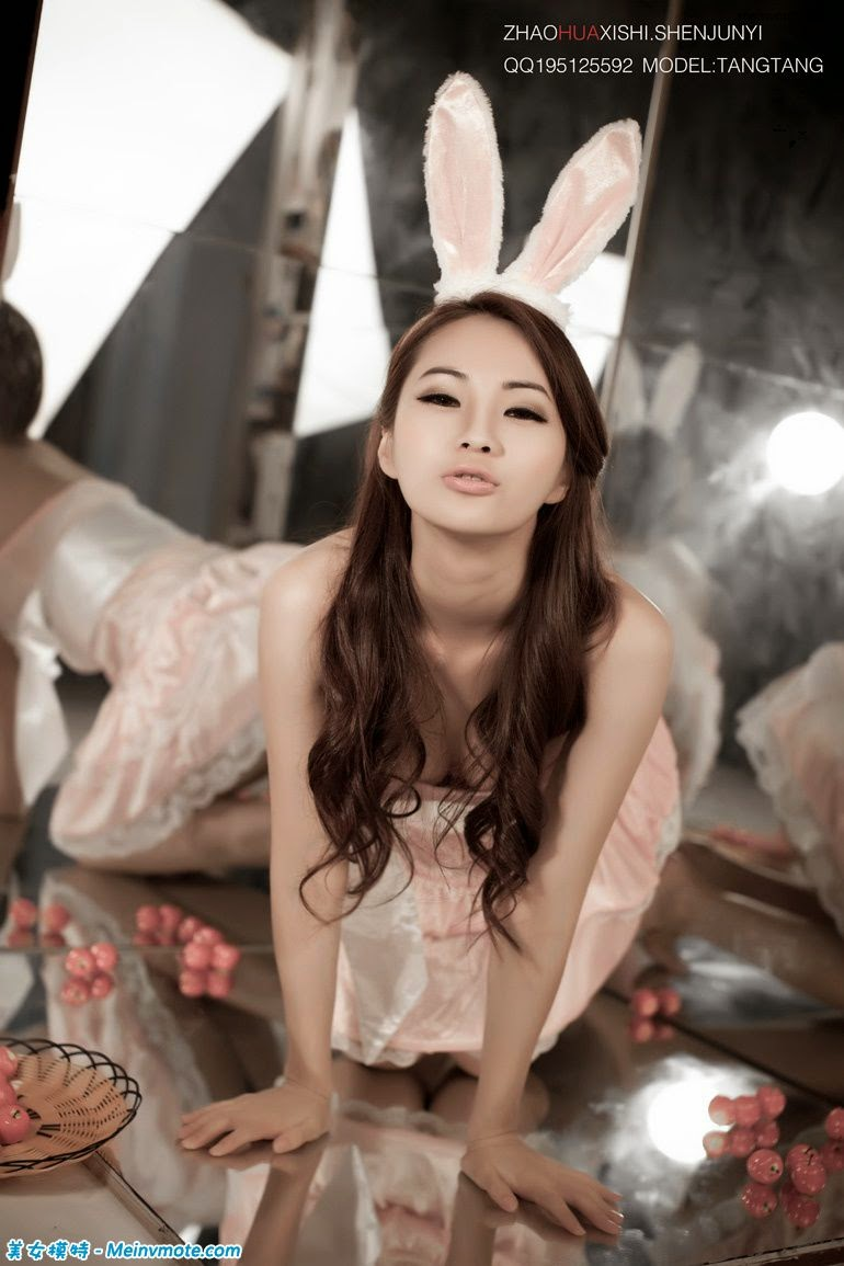 Glamorous model posing playful bunny sell Meng