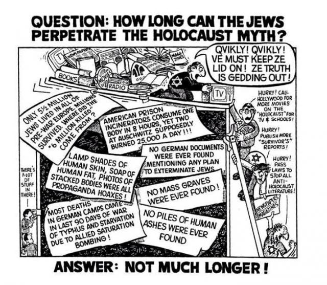 Attack the holocaust myth at every possible conceivable point in time