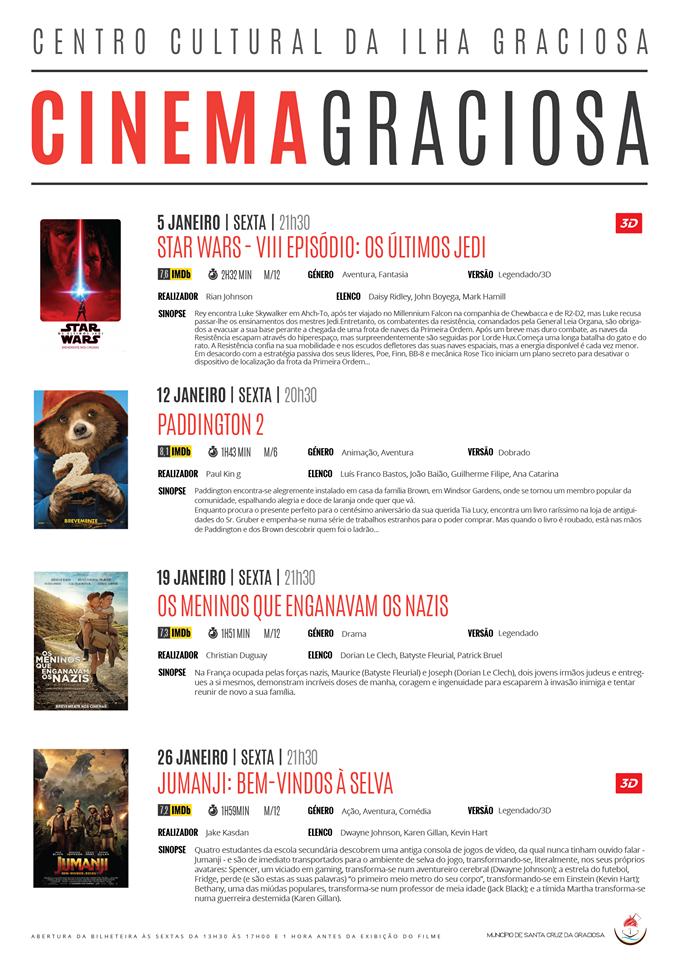 Cartaz Cinema Janeiro 2018