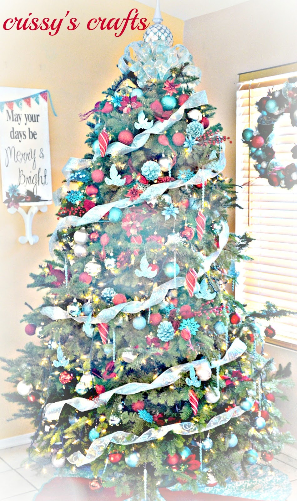 most of the red ornaments i had already and the aqua ornaments were purchased at walmart target and joann - Teal And Red Christmas Decorations