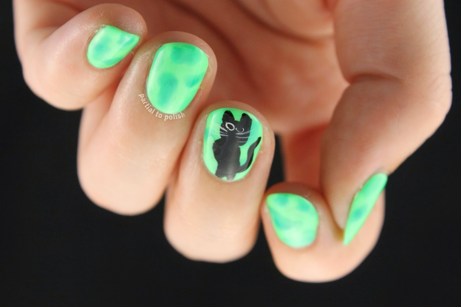 Sassy Derp Cat Watercolour Nails for Nail Crazy in April featuring American Apparel Polishes