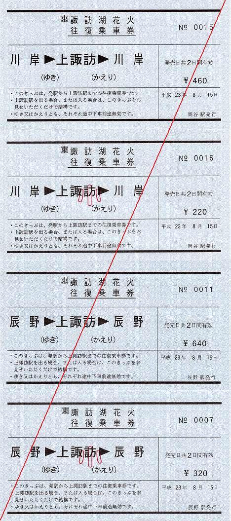 JR東日本 第63回諏訪湖花火往復乗車券1 常備券 軟券 下諏訪・辰野駅