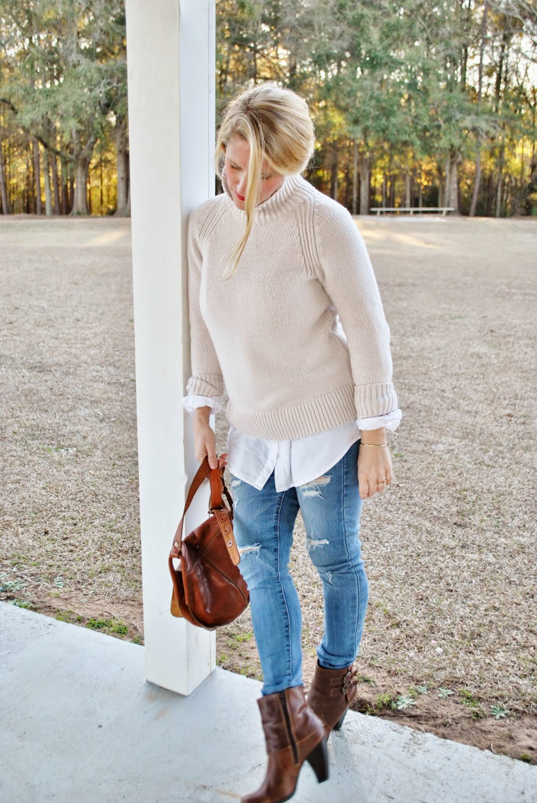 Old Navy Funnel Turtleneck Sweater, Topshop Destroyed Skinnies
