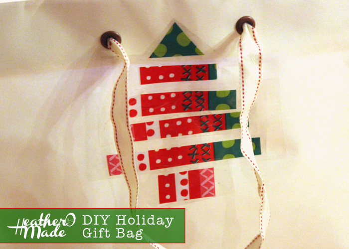 DIY holiday gift bag. repurpose an anthropologie shopping bag. heatheromade.