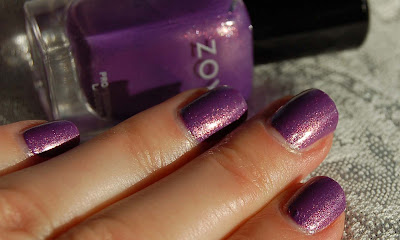 Zoya Danii, a beautiful purple nail polish with sparkling glass flecks, a romantic nail lacquer from the Zoya spring collection Intimate 2011