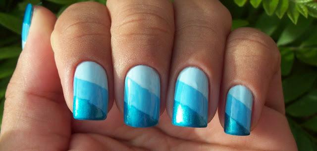Esmaltação em Degradê Diagonal Azul