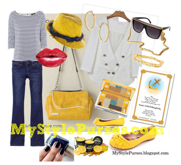 What to wear from MyStylePurses.com presents a nautical look to go with the Miche Bag Clarissa Petite Shell, small yellow purse.