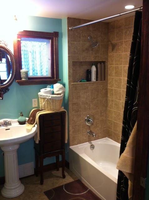1000 images about bathroom on pinterest gray bathroom - Bathroom color schemes brown and teal ...