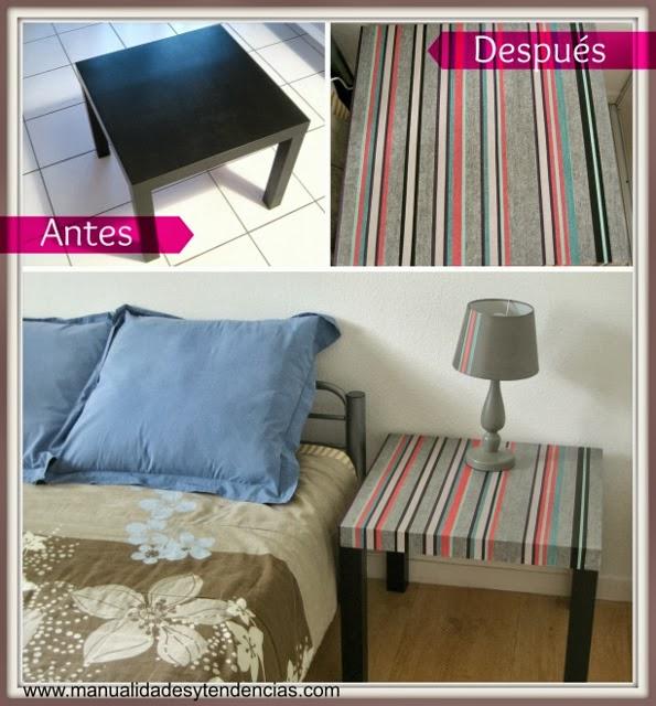 DIY Mesa decorada con washi tape / Washi tape: personalized table / Table de chevet décorées avec du washi tape