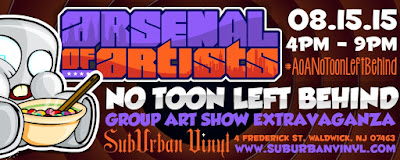"Playful Gorilla & Cash Cannon presents The Arsenal of Artists ""No Toon Left Behind!"" Group Art Show"