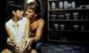 Demi Moore and Patrick Swayze in potters wheel scene from Ghost