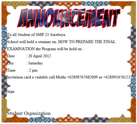 Contoh Announcement Untuk Sekolah - Contoh U