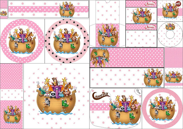 Arca de Noé para Niñas: Etiquetas Candy Bar para Imprimir Gratis.