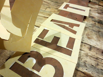 stencilling onto an old board