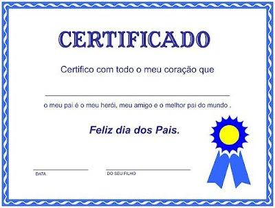 Certificados e diplomas para o dia dos pais