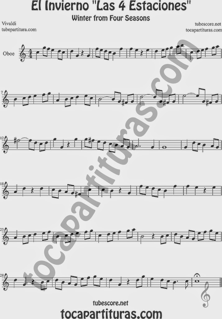El Invierno de Vivaldi Partitura Fácil  Partitura de Oboe Sheet Music for Oboe Music Score Easy Winter Sheet Music Easy Winter Sheet Music