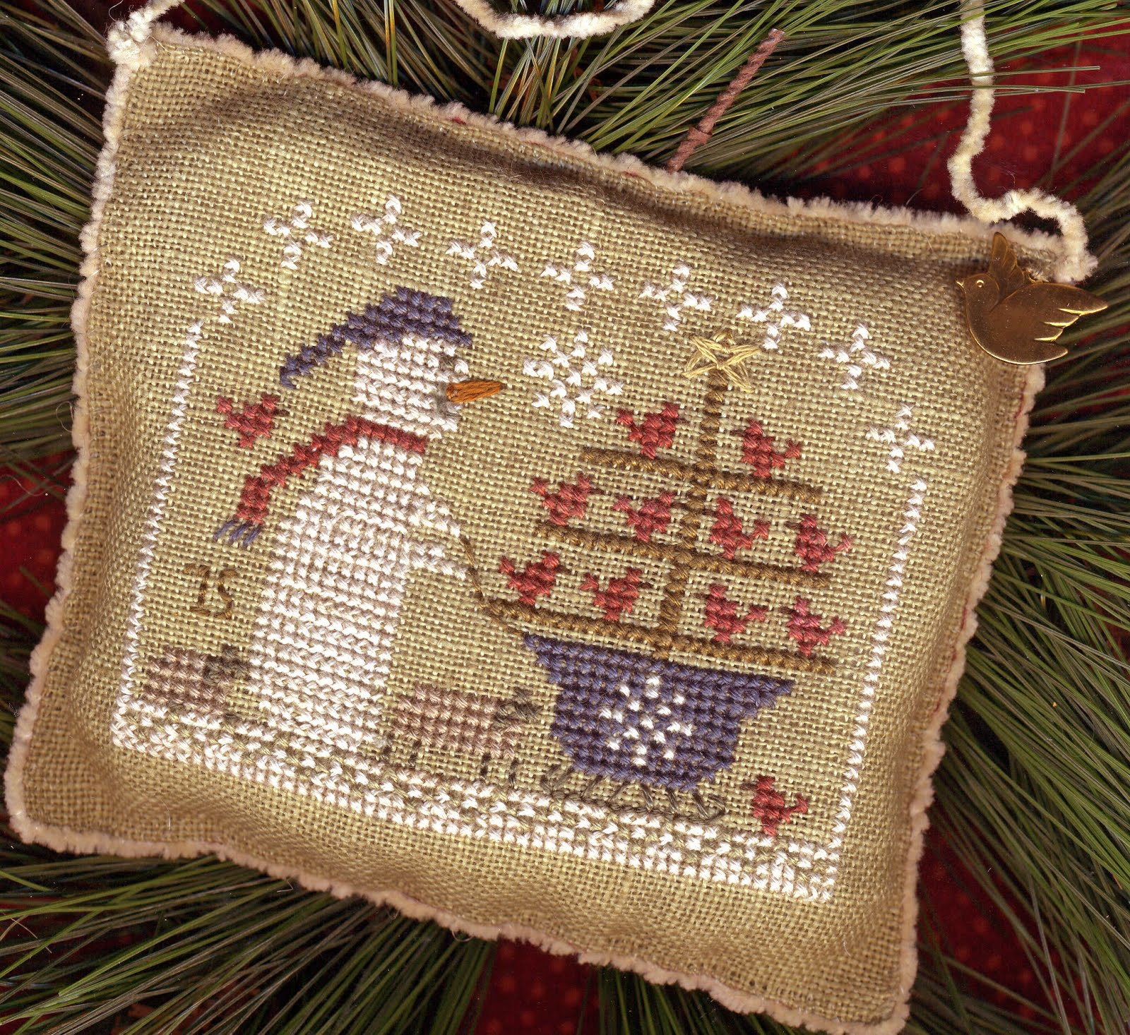 "2015 Snowman Ornament ~ ""Snow Birds In Tow"""