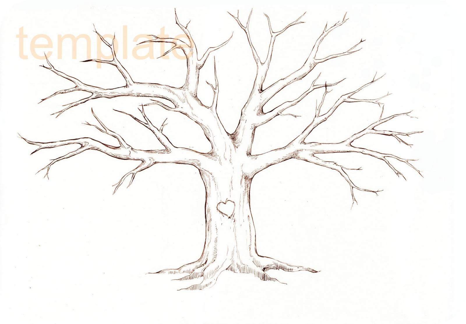 Family tree template family tree thumbprint template for Picture of family tree template