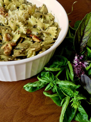 Walnut Pesto on Pasta with Flowering Basil Leaves