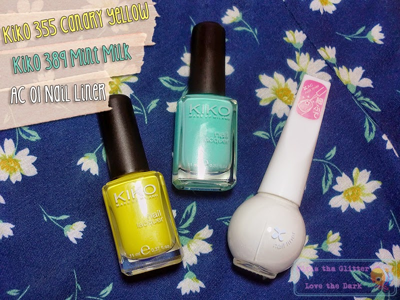 NOTW, Kiko 355 Canary Yellow, Kiko 389 Mint Milk, AC 01 Nail Liner