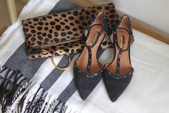 clare v leopard clutch, vita fede bracelet, halogen flats