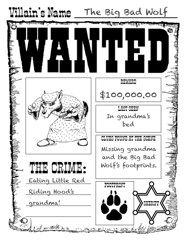 Kearsons Classroom The Big Bad Wolf – Wanted Poster Examples