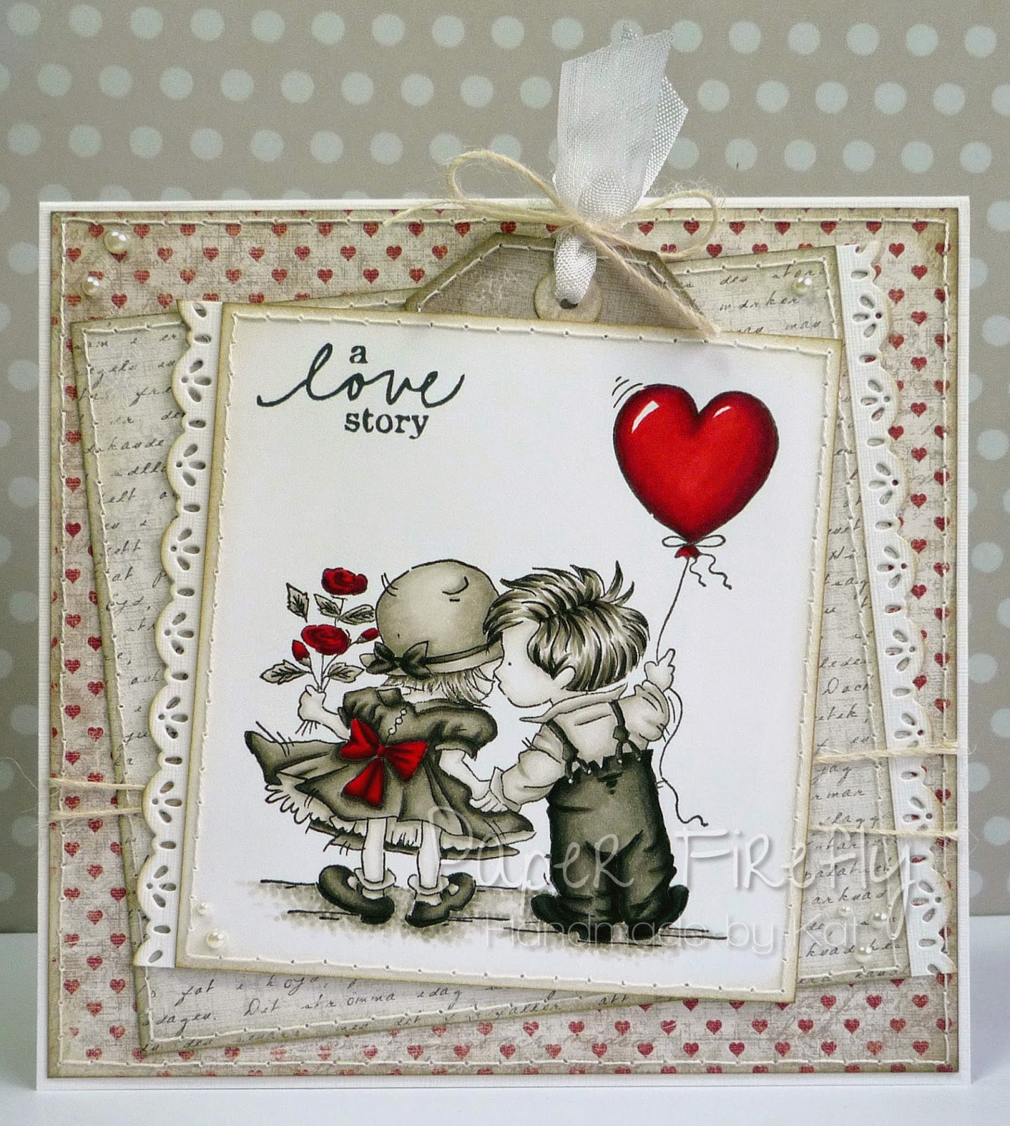 Romantic card featuring LOTV love balloon stamp