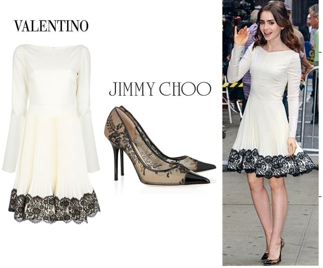 Good Morning America -  Valentino Dress - Jimmy Choo Shoes - Lily Collins