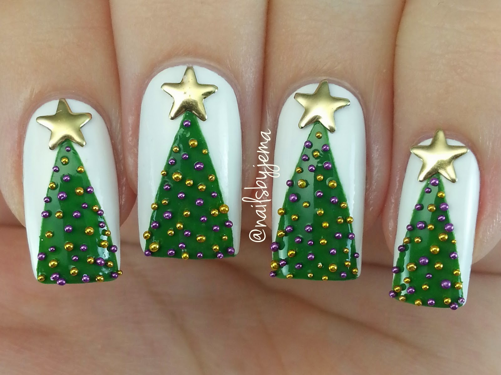 N A I L S B Y J E M A: 3D Christmas Tree Nails & Video Tutorial