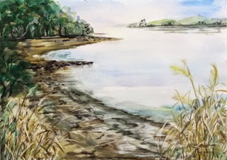 Wonderful New Zealand Landscape Seashore Watercolor Painting on paper, size 29.5 x 42 cm
