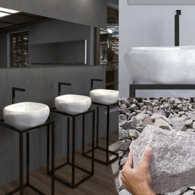 Il lavabo Ritho realizzato da Gustavo Martini per Ceramica Flaminia per essere prodotto per il mercato internazionale