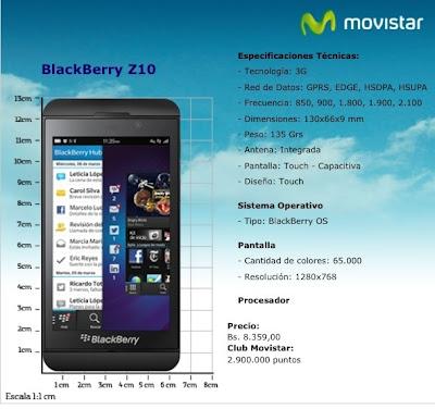 Movistar Venezuela ya tiene en su web publicado el tan esperado Blackberry Z10 en un precio de Bs. 8.359 o 2.900.000 puntos del Club Movistar.