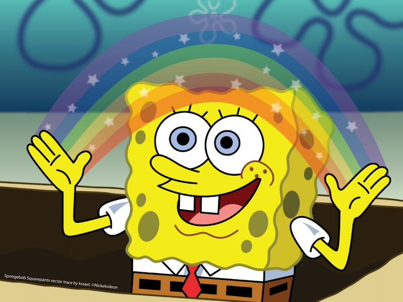 Wallpaper free download Sponge Bob holding a rainbow title=