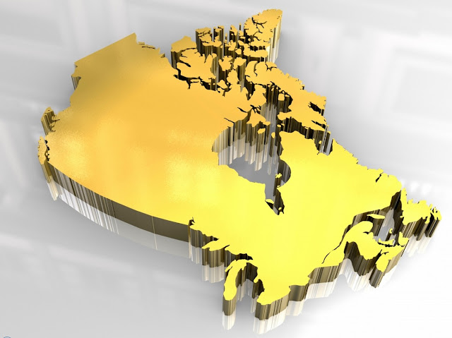 Canada 3D Golden Map