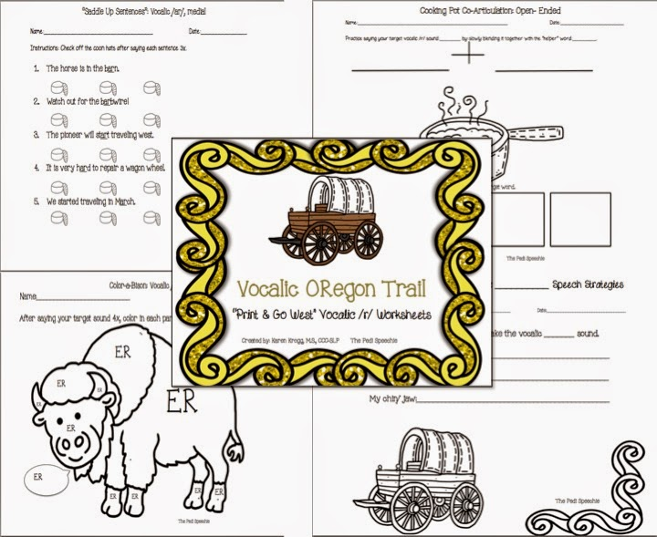The Pedi Speechie No Prep Articulation Packets – Vocalic R Worksheets