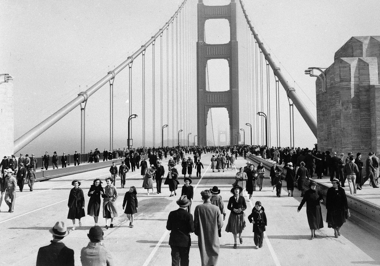 Opening day  The Golden Gate Bridge was opened to pedestrians on May    Golden Gate Bridge At Day