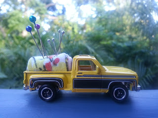 Toy car upcycled pincusion
