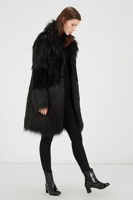 warehouse black fur coat, warehouse faux fur coat,