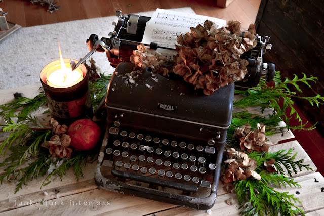 Vintage black typewriter for a Christmas vignette or centrepiece, by Funky Junk Interiors