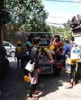 Car pick up at after rafting at Ayung river