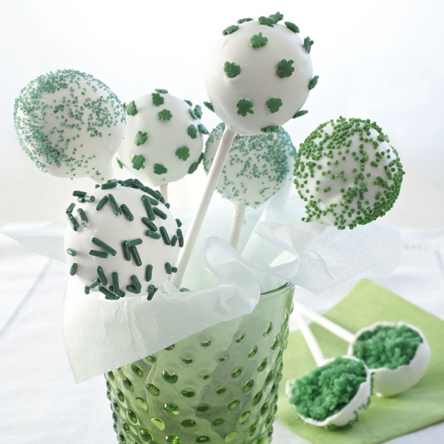 Give the cake pop trend some St. Patrick's Day spirit with green food color and decorate with shamrock sprinkles for a festive dessert, inside and out.