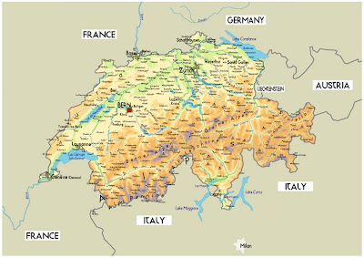 Map of Switzerland Region and City