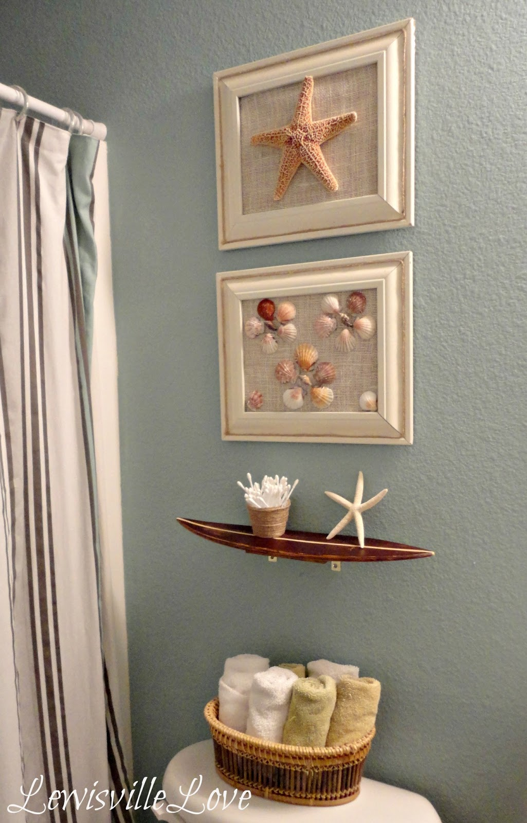 Lewisville love beach theme bathroom reveal for Beach themed bathroom sets