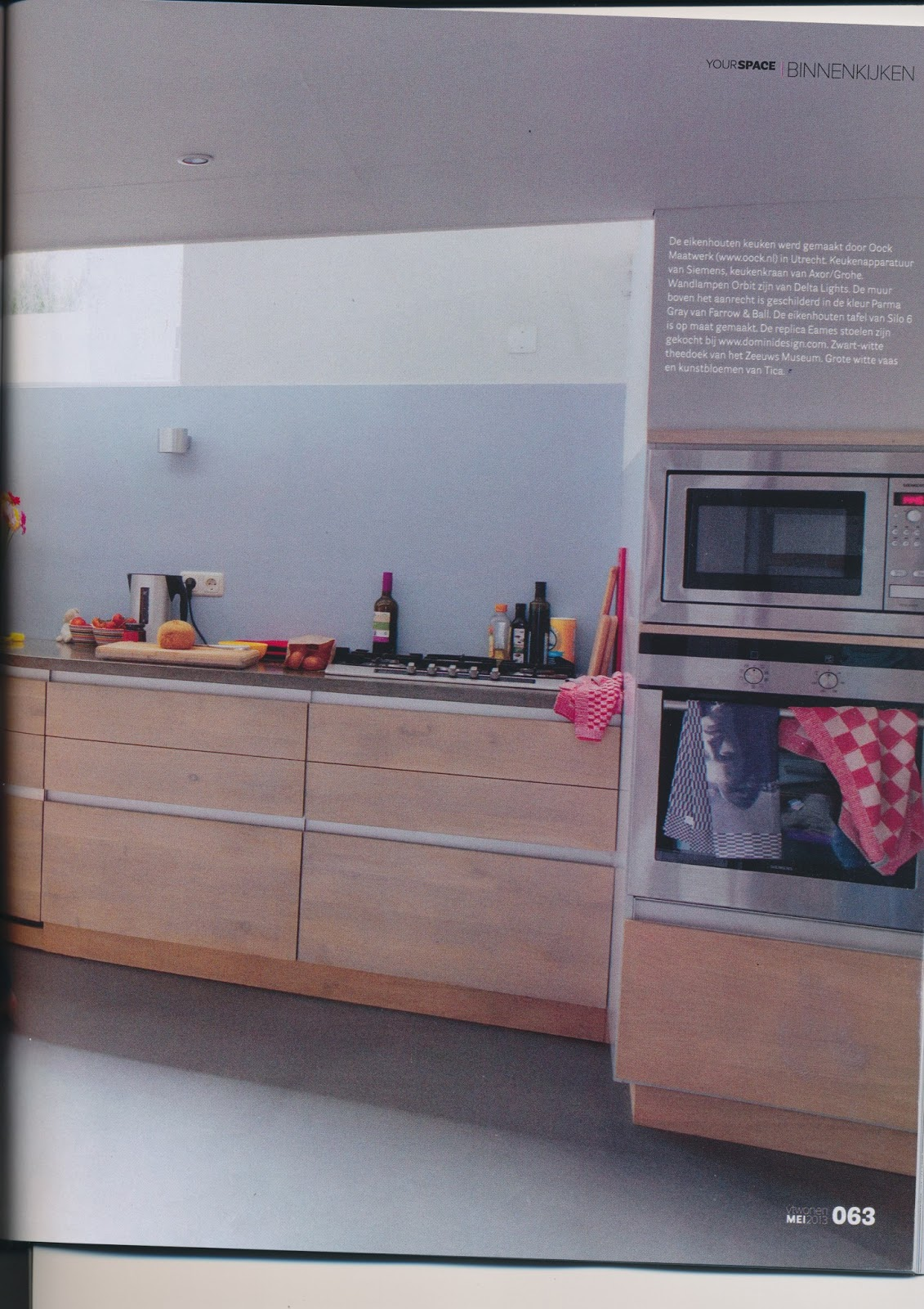 Painted white oak kitchen cabinets - Houten Keuken Our Own Oock Kitchen In The May Issue Of Vt Wonen