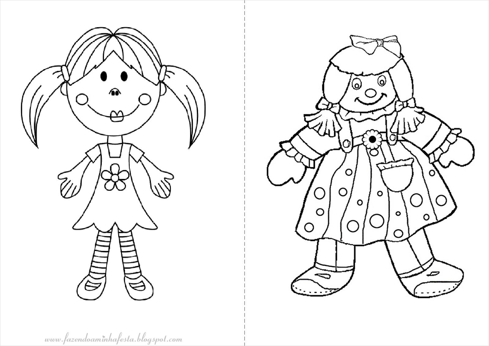 Excepcional Fazendo a Nossa Festa - Colorir: Bonecas - Livrinho para Colorir! FT79