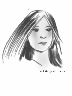 This portrait is a gesture drawing fingerpainted on an iPad