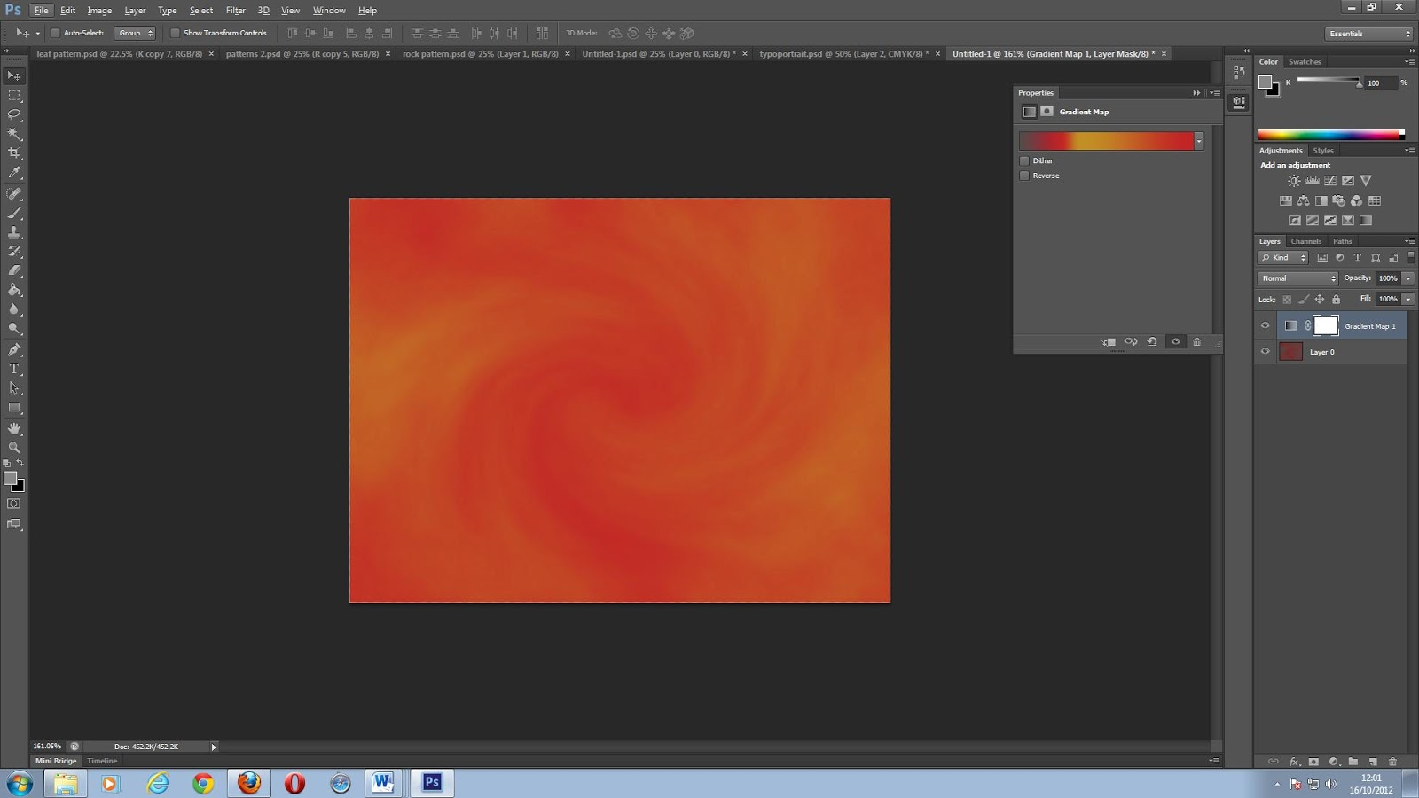 by choosing filter render clouds this creates the cloud texture above which can be changed each time as a random selction of the pattern is created each