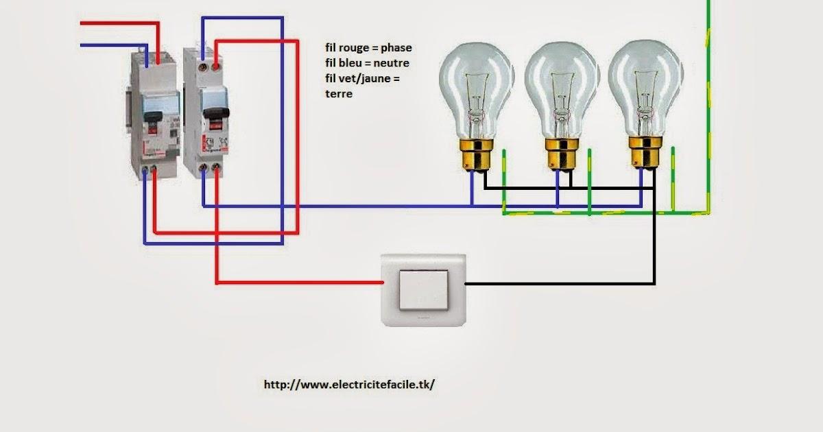 schema electrique schema de branchement simple allumage plusieurs point lumineux. Black Bedroom Furniture Sets. Home Design Ideas