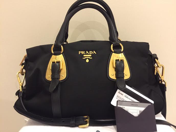 834a352b18 Authentic Prad BN1903 Tessuto Nylon Top Handle Convertible Bag - Black