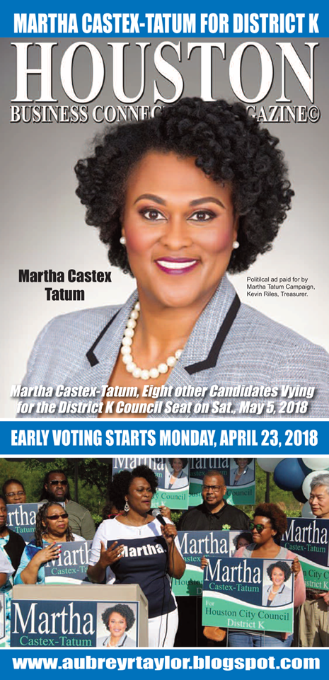 MARTHA CASTEX TATUM IS ASKING FOR OUR VOTE ON SATURDAY, MAY 5, 2018